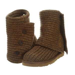 UGG AUSTRALIA BROWN CARDY SWEATER KNIT BOOTS 8